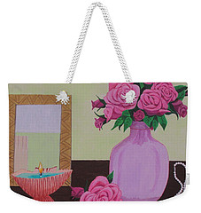 Roses And Pearls Weekender Tote Bag by Hilda and Jose Garrancho