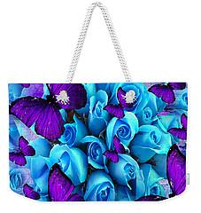 Roses And Purple Butterflies Weekender Tote Bag by Saundra Myles