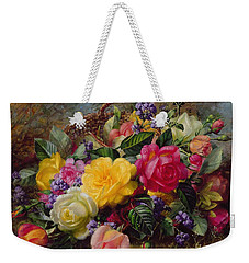 Roses By A Pond On A Grassy Bank  Weekender Tote Bag by Albert Williams