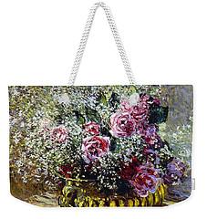 Roses In A Copper Vase Weekender Tote Bag by Claude Monet