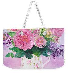 Roses In A Pink Floral Jug Weekender Tote Bag by Jan Matson