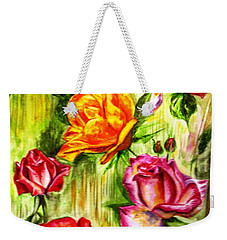 Weekender Tote Bag featuring the painting Roses In The Valley  by Harsh Malik