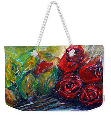 Weekender Tote Bag featuring the painting Roses by Jasna Dragun