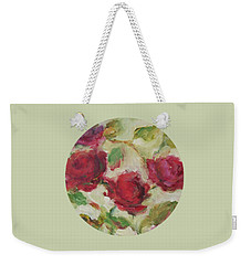 Weekender Tote Bag featuring the painting Roses by Mary Wolf