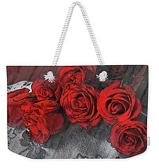 Weekender Tote Bag featuring the photograph Roses On Lace by Bonnie Willis
