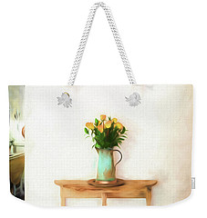 Weekender Tote Bag featuring the digital art Rose's On Table by Lou Novick