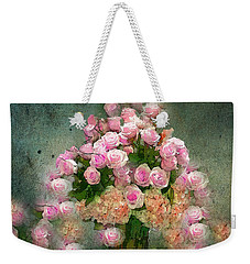 Roses Pink And Shabby Chic Weekender Tote Bag by Saundra Myles