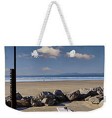 Rossnowlagh Beach On The Wild Atlantic Way With A Surfboard And Rocks Weekender Tote Bag