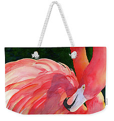 Weekender Tote Bag featuring the painting Rosy Outlook by Judy Mercer