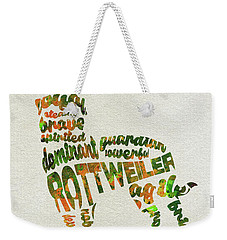 Weekender Tote Bag featuring the painting Rottweiler Dog Watercolor Painting / Typographic Art by Ayse and Deniz