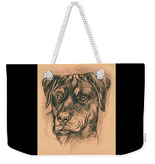 Rottweiler Mix In Charcoal Weekender Tote Bag