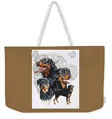 Rottweiler W/ghost  Weekender Tote Bag by Barbara Keith