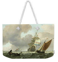 Rough Sea With Ships Weekender Tote Bag