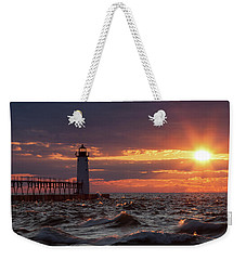 Rough Water Sunset Weekender Tote Bag