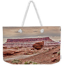 Weekender Tote Bag featuring the digital art Roun Balance Rock by Daniel Hebard