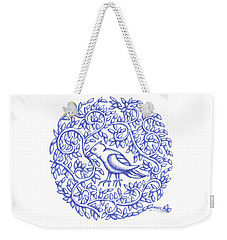 Weekender Tote Bag featuring the drawing Round Bird January 17 by Donna Huntriss