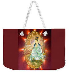 Weekender Tote Bag featuring the photograph Round Halo Kuan Yin by Lanjee Chee