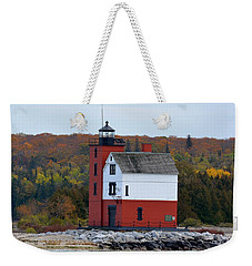 Round Island Lighthouse In October Weekender Tote Bag by Keith Stokes