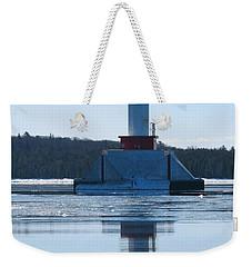 Round Island Passage Light In Winter Weekender Tote Bag