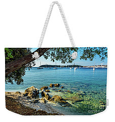 Rovinj Old Town, Harbor And Sailboats Accross The Adriatic Through The Trees Weekender Tote Bag