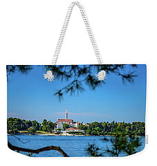 Rovinj Seaside Through The Adriatic Trees, Istria, Croatia Weekender Tote Bag