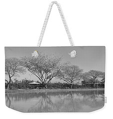 Weekender Tote Bag featuring the photograph Row Of Trees Near The Pond by Esther Newman-Cohen