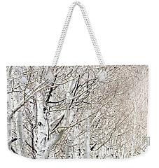 Row Of White Birch Trees Weekender Tote Bag