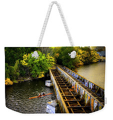 Weekender Tote Bag featuring the photograph Rowers Under The Boston University Bridge by Joann Vitali