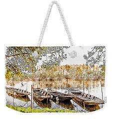 Weekender Tote Bag featuring the digital art Rowing Boats And Punts On The Loire France by Anthony Murphy