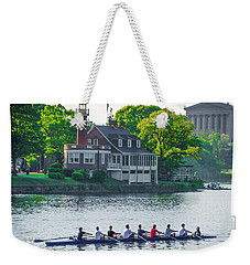 Weekender Tote Bag featuring the photograph Rowing Crew In Philadelphia In The Spring by Bill Cannon