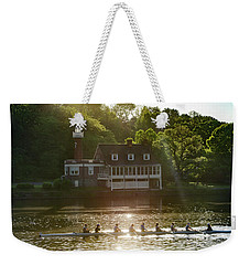Weekender Tote Bag featuring the photograph Rowing In Front Of Segley Club by Bill Cannon
