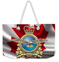 Royal Canadian Air Force Badge Over Waving Flag Weekender Tote Bag