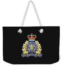 Royal Canadian Mounted Police - Rcmp Badge On Black Leather Weekender Tote Bag