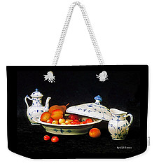 Weekender Tote Bag featuring the photograph Royal Copenhagen And Fruits by Elf Evans