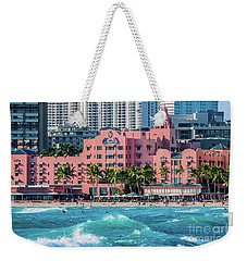 Royal Hawaiian Hotel Surfs Up Weekender Tote Bag by Aloha Art