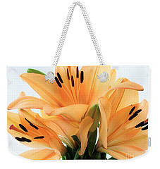Weekender Tote Bag featuring the photograph Royal Lilies Full Open - Close-up by Ray Shrewsberry
