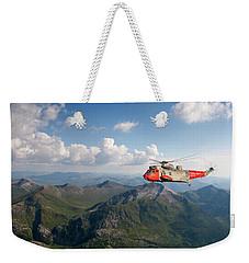 Weekender Tote Bag featuring the digital art Royal Navy Sar Sea King by Pat Speirs