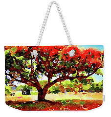 Weekender Tote Bag featuring the painting Royal Red by Angela Treat Lyon