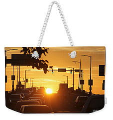 Weekender Tote Bag featuring the photograph Rte 50 Bridge At Sunset by Robert Banach
