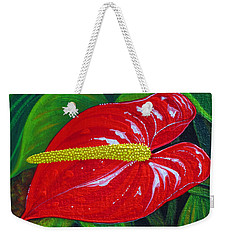 Weekender Tote Bag featuring the painting Ruby Holiday by Debbie Chamberlin