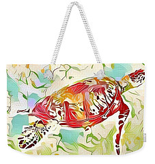 Weekender Tote Bag featuring the digital art Ruby The Turtle by Erika Swartzkopf