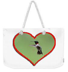 Ruby-throated Hummingbird In Heart Weekender Tote Bag