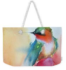 Ruby Throated Hummingbird On A Red Hot Poker Flower Wip Weekender Tote Bag