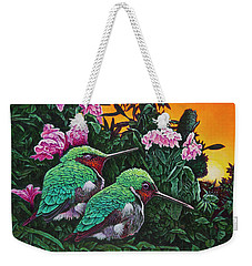Weekender Tote Bag featuring the painting Ruby-throated Hummingbirds by Michael Frank