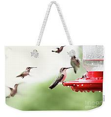 Ruby-throated Hummingbirds Weekender Tote Bag by Stephanie Frey