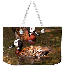 Weekender Tote Bag featuring the digital art White-faced Whistling Duck by Chris Flees