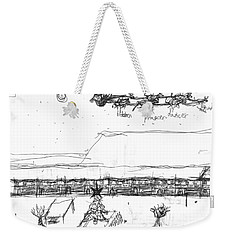 Weekender Tote Bag featuring the painting Rudolph Leads The Way by Artists With Autism Inc