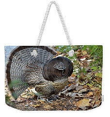 Ruffed Up- Ruffed Grouse Displaying Weekender Tote Bag by David Porteus