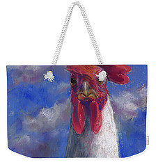 Weekender Tote Bag featuring the pastel Ruler Of The Roost by Billie Colson