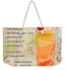 Rum Runner Mixed Cocktail Recipe Sign Weekender Tote Bag by Mindy Sommers